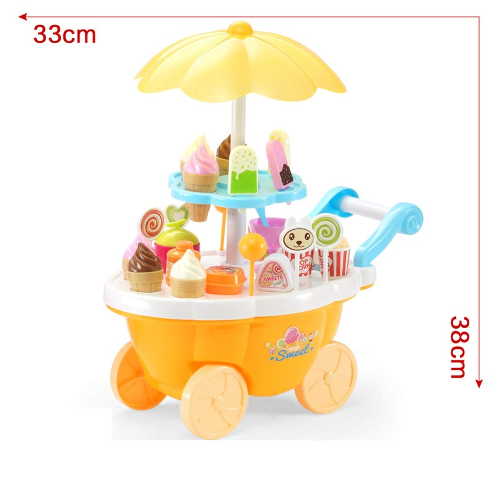 BJLWTQ Ice Cream Cart 39 PCS Pretend Play Food Dessert and Candy Trolley Set Toy with Music and Lighting Kids and Girls Toys,33x20x38cm (Color : Yellow)