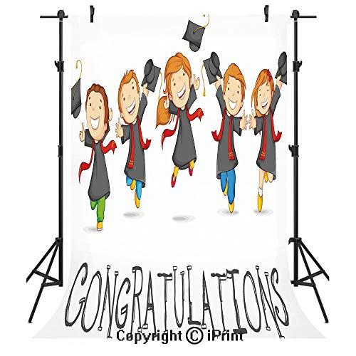(Graduation Decor Photography Backdrops,Happy Children Jumping Genius Clever Smart Kids Preschool Kindergarten Decorative,Birthday Party Seamless Photo Studio Booth Background Banner)