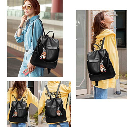 Lightweight Travel School Shoulder Black Rucksack Fashion Backpack Women Ladies Purse PU Bag Waterproof Handbag qf6W18