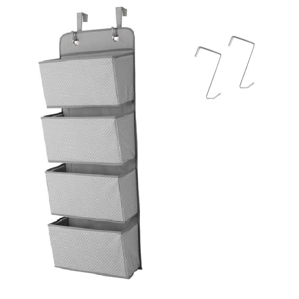 Ebeta Organisateur de Suspension de Porte Organisateur de Placard Pegboard Pliable en Non-tiss/é 4 Grands Compartiments Points Gris