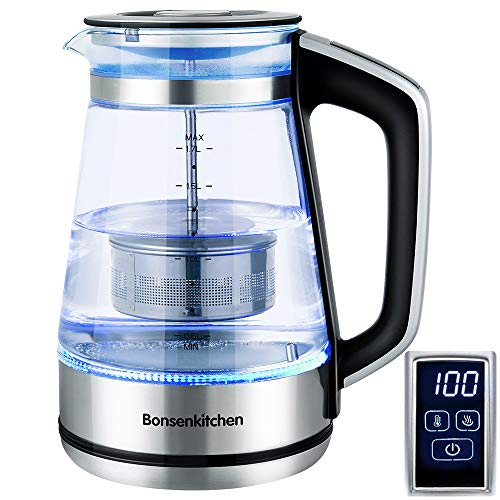 Bonsenkitchen Hervidor de Agua de Vidrio Electrico con Temperatura Regulable, Funcion de Mantener Caliente, Pantalla Tactil LED, Tetera 1 7L / 2200W