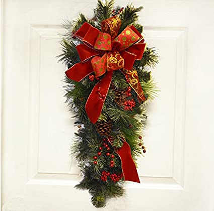 pine christmas door swag red bow cr4847