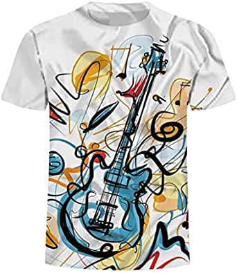 Summer loose-fitting hand-painted guitar 3-D printed Short-sleeved T-shirt