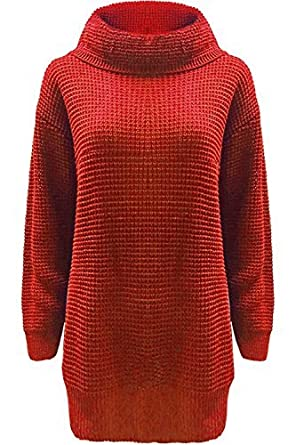 Fashion Star Womens Long Sleeves Plain Cowl Roll Neck Chunky Knit Baggy Long Jumper Dress BE JEALOUS