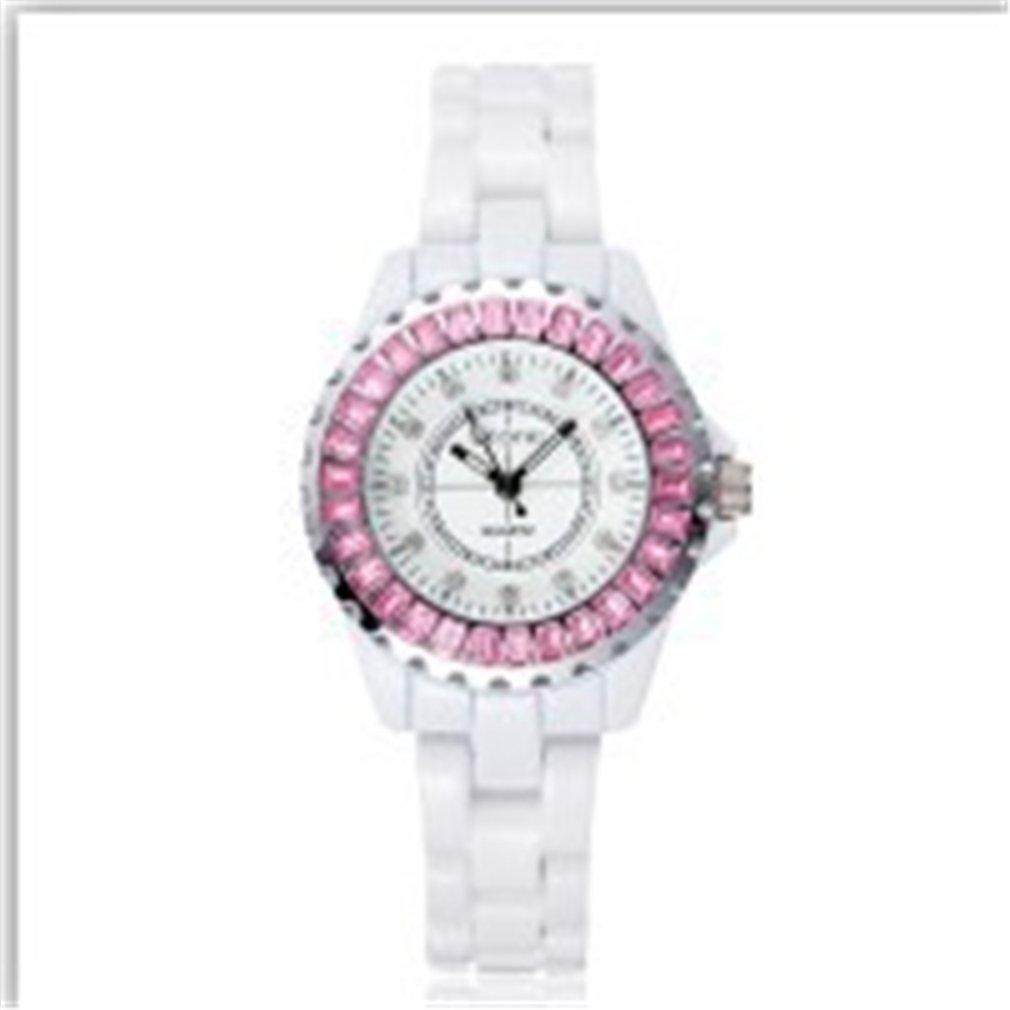 (オンラインで購入しやすいです) BUYEONLINE レディーズラインストーンセラミックホワイトギア合金カジュアル腕時計 ピンク B016KI5S7A