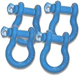 3/4 inch Jeep D-Shackles – HARD HAT SAFETY BLUE Powdercoated (Set of 4) (4X4 RECOVERY)