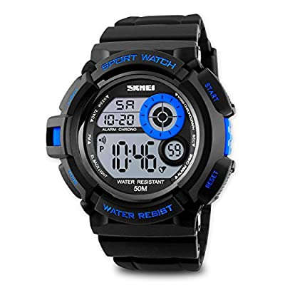 Aposon Mens Sports Running Watches, Kids Boys 50M Waterproof LED Digital Water Resistant Wristwatch with Stopwatch Unique Dial Military Army Fashion 7 Color Changeable Backlight