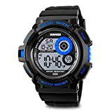 Aposon Mens Sports Running Watches, Military Army Wristwatch Water Resistant 50M Waterproof LED Digital with Stopwatch Unique Dial Fashion 7 Color Backlight
