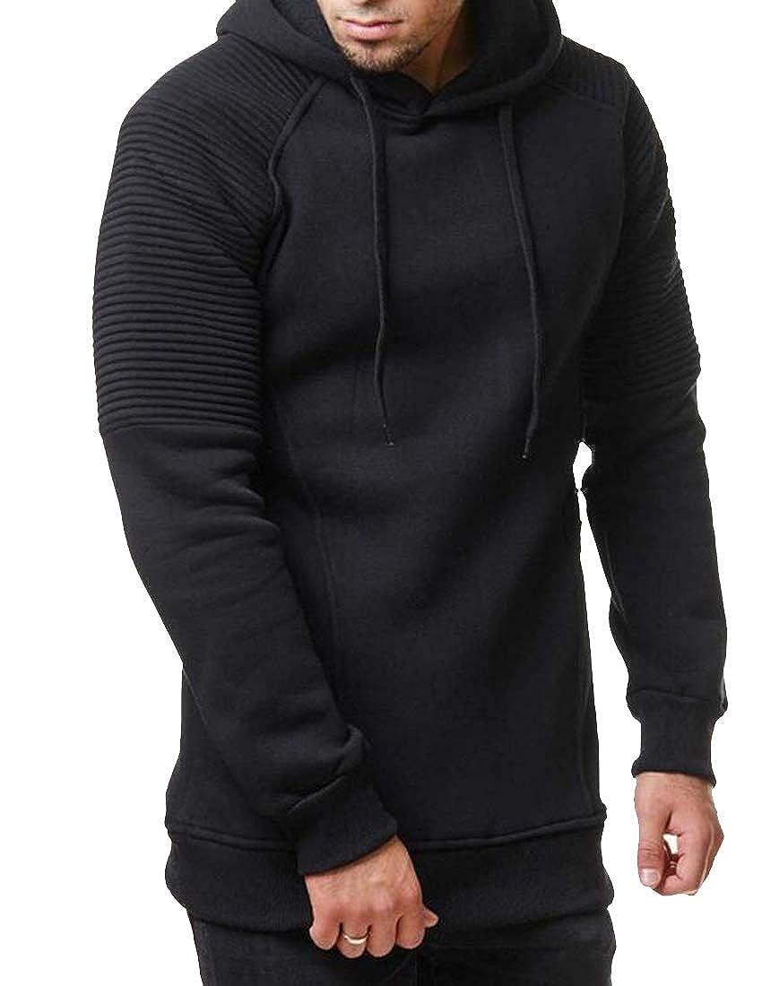 Hajotrawa Mens Casual Hoodies Drawstring Ruched Sport Pullover Sweatshirts