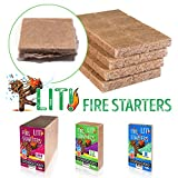 STEICO LIT Fire Starter for Lighting of Charcoal - logs - BBQ - Grill - camfire - Fireplace - fire Pit - Wood Oven and Stove - All Natural Large Squares firestarters (32)