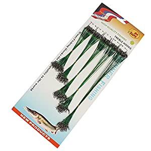 Estone 100 pcs Fishing Trace Lures Leader Steel Wire Spinner 16/18/22/24/28cm Green/Silver (Green)