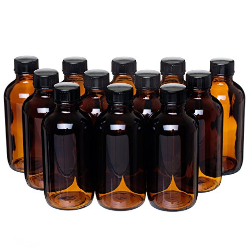 Bottle Vanilla Extract - California Home Goods 12 Pack - 4 oz. Amber Glass Bottle with Lid for Vanilla Extract, Perfume, Oils, Light-Sensitive Liquids, Refillable Boston Round Bottle from