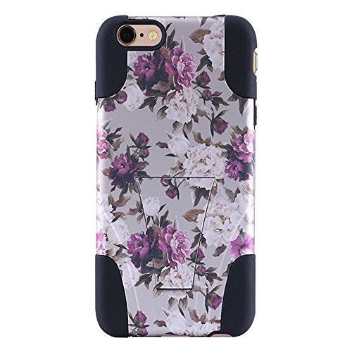 """Amzer Coque hybride à double couche """"Rose romantique roses Blanc Floral Étui à rabat avec béquille intégrée pour iPhone 6/6S"""