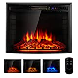YODOLLA Electric Fireplace Insert, Fireplace Heater with Remote Control and Timer, 750w-1500W