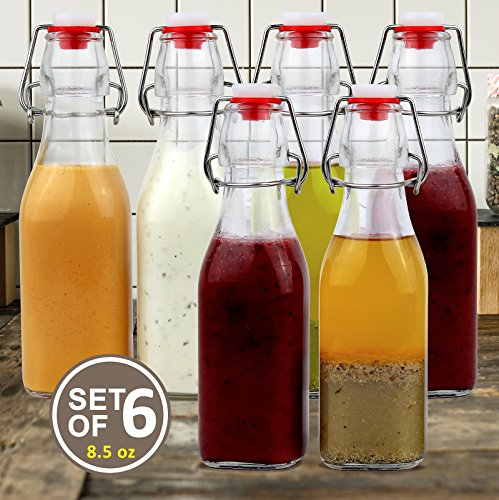 Estilo Swing Top Easy Cap Clear Glass Bottles, Square, 8.5 oz, Set of 6 (Small Glass Bottle)