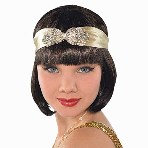 Amscan Girls Roaring '20s Costume Party Flapper Headband (1 Piece), Gold, One (Roaring 20s Girls)