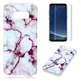 for Samsung Galaxy S8 Marble Case with Screen Protector,OYIME Creative Glossy Purple & White Marble Pattern Design Protective Bumper Soft Silicone Slim Thin Rubber Luxury Shockproof Cover