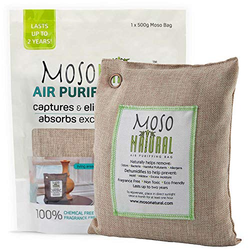 Moso Natural Air Purifying Bag. 500g Bamboo Charcoal Air Freshener, Deodorizer, Odor Eliminator, Odor Absorber For Kitchens and Bedrooms. Natural Color