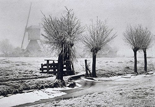 Misty Winterday By Beers JG 1904 Photograph Dutch Foggy Winter Scene With Windmill Pruned Trees Snow And Partially Frozen Canal (Bsloc201621) Poster Print (36 x 24)