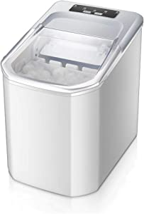 JFGUOYA Counter Top Ice Maker Machine,Compact Automatic Ice Maker,9 Ice Cubes Ready in 6-8 Minutes,Portable Ice Cube Maker with Scoop and Basket,Perfect for Home/Kitchen/Office/Bar (White)