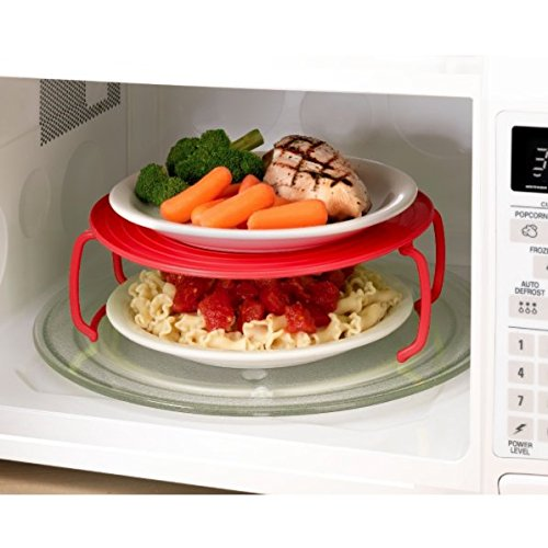 4 in 1 microwave plastic stand, it's a tray, a plastic stacker a lid and a cooling rack