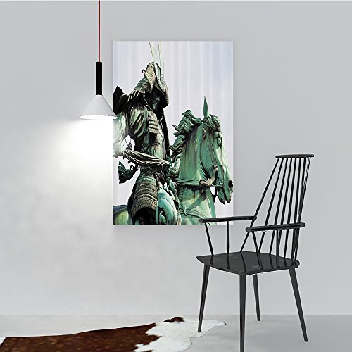 Philip C. Williams Frameless PaintingSamurai Warrior Riding Horse Sculpture in City Park in Tokyo History to liven up and Energize Any Wall or Room. W12 x H18