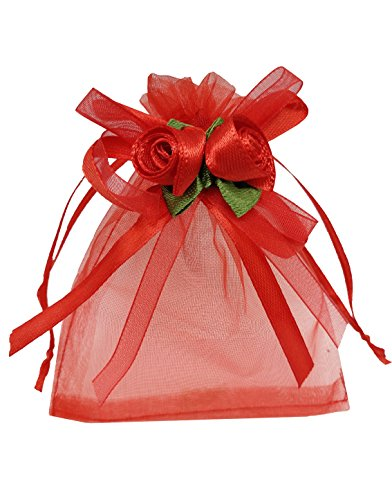 Ankirol 20pcs Sheer Organza Favor Bags For Wedding 3.8x4.8'' Gift Bags Samples Display Drawstring Rose Pouches (hot red)