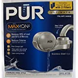 PUR FM-9000B NEW AdvancedPlus Faucet Water Filter - Stainless Steel Style, with 2 filters