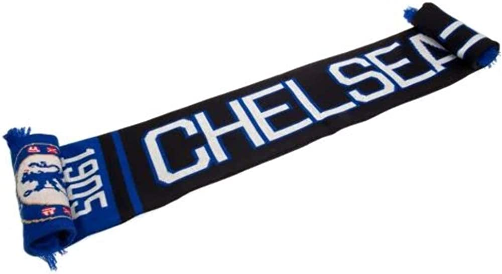 CHELSEA FC Official Blue Black White Jacquard Scarf NR Knit 1905