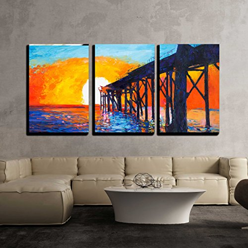 Painting of Pier Rich Golden Sunset over Ocean Impressionism x3 Panels