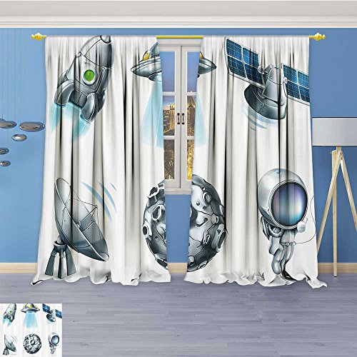 """Abstract Decor Curtains,Digital Futuristic Astromy Space Ics Meteor Radar Signals Satellite,Living Room Bedroom Window Drapes 2 Panel Set,108""""W By 84""""L Pair"""