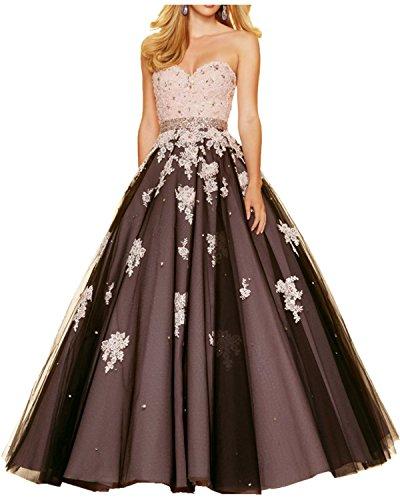 Promkleider Abendkleider Bodenlang Damen Tuell Ivydressing Prinzessin Partykleider Ballkleider Traegerlos Satin Spitze Bildfarbe 4avZ0w