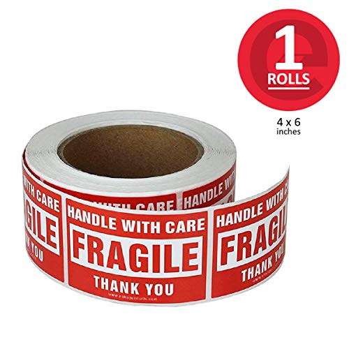 enKo - 4 x 6 Inch Large Fragile Stickers Handle with Care Warning Packing Shipping Label - Permanent Adhesive (1 Roll, 500 Labels)