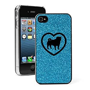 Apple iPhone 4 4S Glitter Bling Hard Case Cover Pug Heart (Light Blue)
