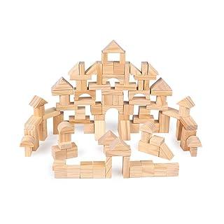 Giocattoli per lo sviluppo dell'apprendimento prec I bambini di legno accumulano fino a 100 ceppi di protezione ambientale Building Blocks Educazione precoce Giocattoli educativi, regalo di compleanno