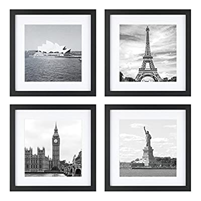 ONE WALL Tempered Glass 11x11 Picture Frame with Mats for 8x8 Photo, Black Wood Frame for Wall and Tabletop - Mounting Hardware Included - 【Modern Style】Understated black selected pinewood frame plus neatly cut white mats perfectly match any pieces of photos and prints. It also comes with a fine picture print of Statue of Liberty. 【Suitable for 2 Sizes】ONE WALL black picture frame fits 11x11 inch photo without mat. It comes an extra mat: 7.5 x 7.5 inch mat for 8 x 8 inch photo. The easy-open tabs on the back enable you to load your photos, prints quickly. 【Wall & Desktop Display】The pre-installed hanging hardware supports wall display. Our frame can be also displayed on the desktop with the built in easel. Besides, the attached bubble level and seamless nail make wall hanging much easier. - picture-frames, bedroom-decor, bedroom - 51O5LxfpgoL. SS400  -