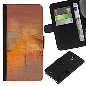 A-type (Art Painting House Mist) Colorida Impresión Funda Cuero Monedero Caja Bolsa Cubierta Caja Piel Card Slots Para Samsung Galaxy S4 Mini i9190 (NOT S4)