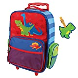 Stephen Joseph Rolling Luggage and Name Tag Set, Dinosaur