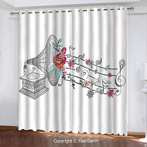 Printed Blackout Curtains Vintage Gramophone Record Player with Floral Ornament Blossom Antique Darkening Panel for Bedroom(55