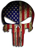 "PUNISHER SKULL American Flag Vinyl Decal Stickers Car Truck Sniper Marines Army Navy Military Jeep Graphic 5"" x 7"""