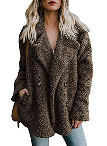 Zeagoo Womens Fleece Fashion Open Front Cardigan Coat Jacket with Pockets Outwear Warm Winter Dark Khaki