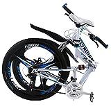 ALTRUISM X6 Folding Bike Frame 26 Inch Aluminium Mountain Bicycle 21 Speed Disc Brakes Bike Tall Man Mtb Bike 2 Color Choose Ce Rohs (White Blue)