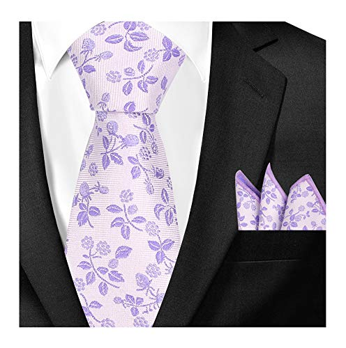 - Mens French Lavender Ties Hanky Set Summer Floral Pattern Wedding Dance Neckties