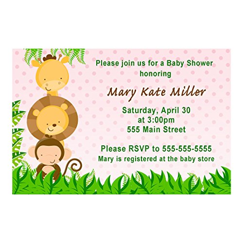30 Invitations Personalized Pink Jungle Animals Baby Girl Shower Photo Paper by Pink The Cat