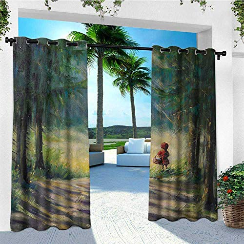 leinuoyi Kids, Outdoor Curtain Ties, Watercolor Ancient Traditional Story Illustration Girl with Red Dress Brush Strokes, for Patio Waterproof W108 x L96 Inch Multicolor
