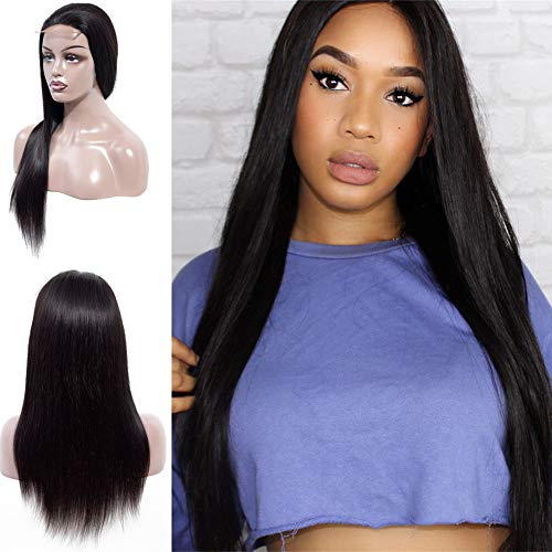 Halo Lady Straight Lace Front Virgin Human Hair Wig for Women Soft Smooth 4X4 Lace Front Wig Elastic Straps Comfortable Adjustable Natural Color (20 inch)