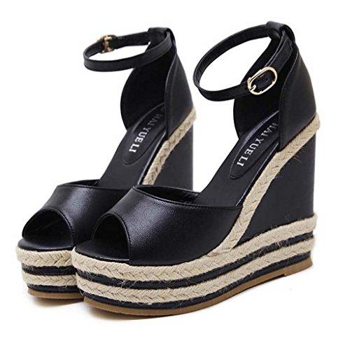 SHEO sandalias de tacón alto Señoras con zapatillas de tacón alto con tiras de paja con sandalias Negro