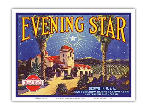 Pacifica Island Art - Evening Star - Red Ball California Lemons - Vintage Fruit Crate Label c.1930s - Master Art Print - 9in x 12in ()