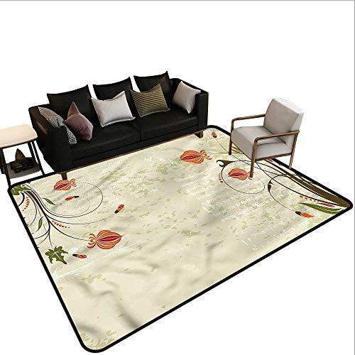 Floral,Large Floor Mats for Living Room 80