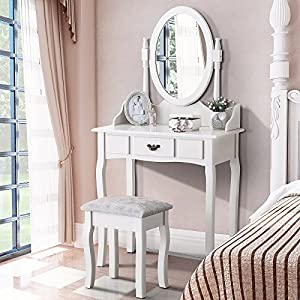 Mecor Vanity Makeup Table Set Dressing Table with Stool and Oval Mirror